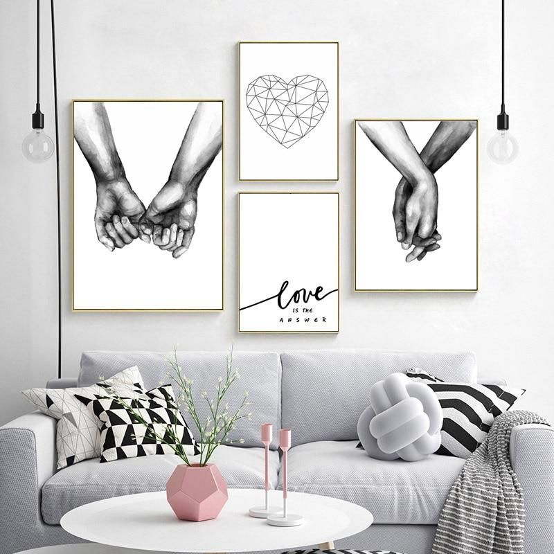 Love Is The Answer Nordic Style Black White Canvas Prints Hand In Hand Nordicwallart Com White Wall Art Black And White Wall Art Wall Art Living Room
