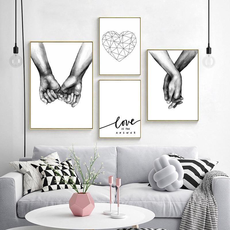 Love Is The Answer Nordic Style Black White Canvas Prints Hand In Hand Nordic Decoracion Paredes Cuadros Decoracion Moderna De Paredes Decoracion Con Cuadros