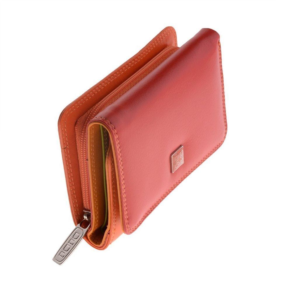 DuDu Portafoglio Donna Trifold Piccolo Art 1260 Linea pelle Colorful Rosso