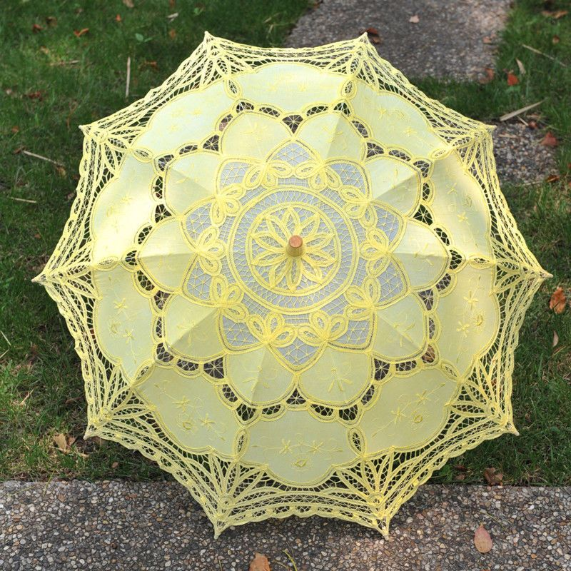 New Yellow Battenburg Lace Cotton Embroidery Wedding Umbrella Bridal Parasol