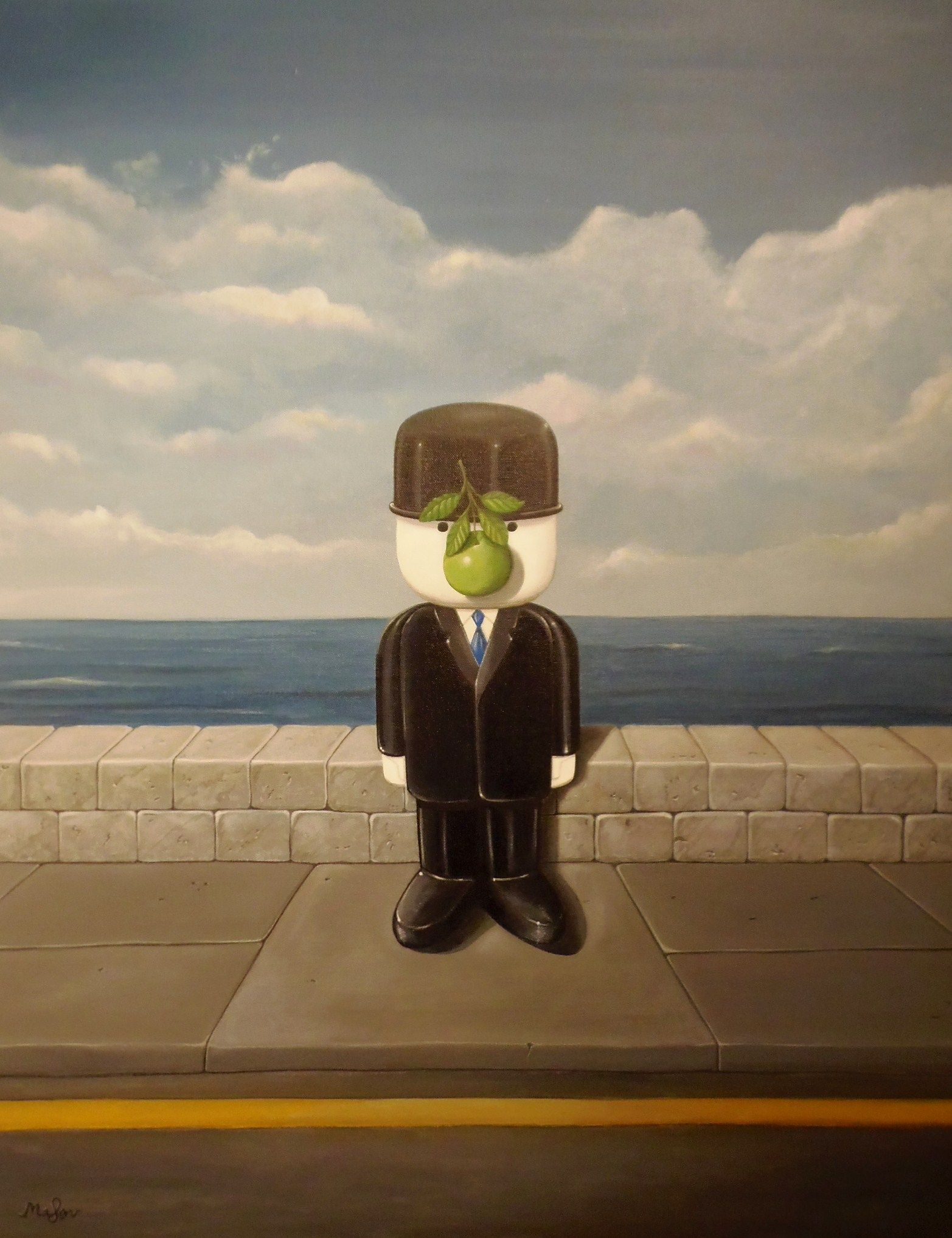 Acrylic on canvas featuring Fred as part of the Fred/Magritte series of paintings. In Magritte's 'Son of Man' painting a business man (a portrait of Magritte himself) has his face obscured by a green apple. Here we see Fred in the same pose except we can see below the waist of the central character.
