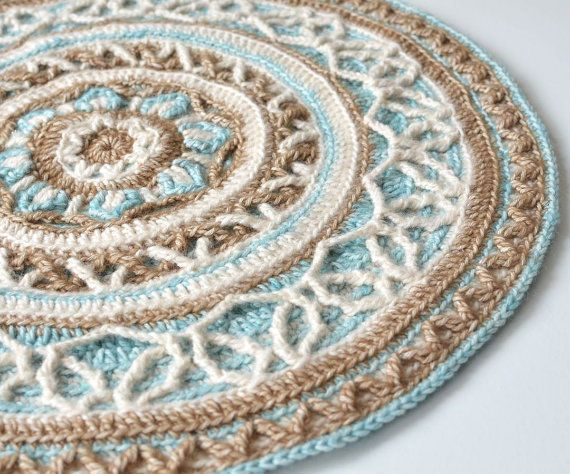 Pattern round crochet mandala with cables overlay crochet