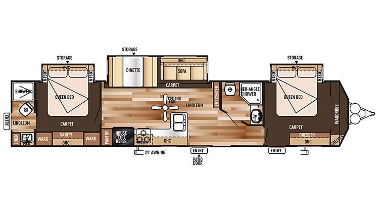 New 2016 Forest River Wildwood Dlx Rv 4002q Floor Plan Travel Trailer Floor Plans Rv Superstore Travel Trailer