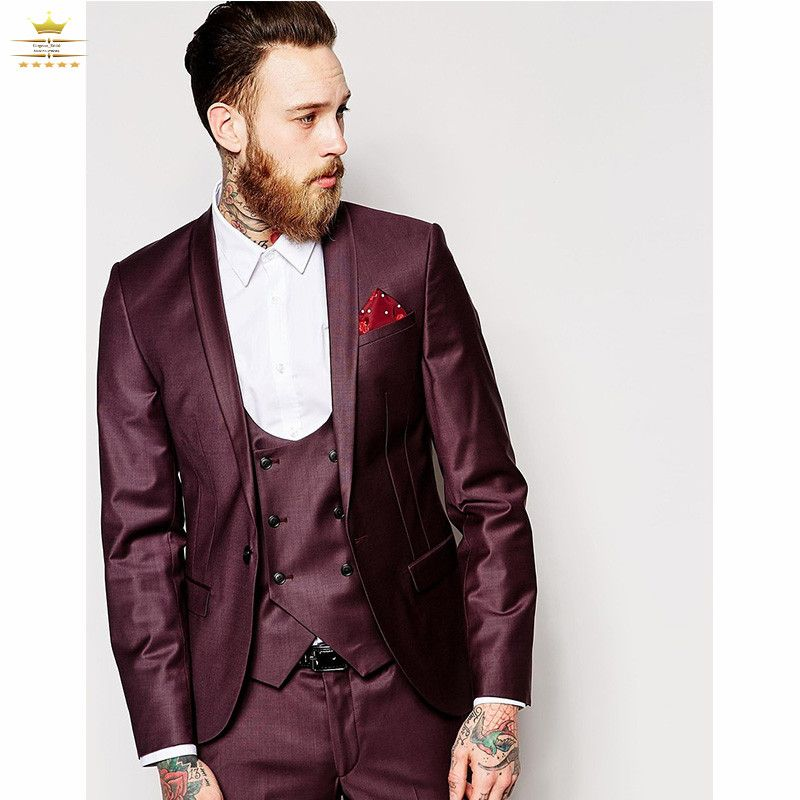 2017 Latest Coat Pant Designs Burgundy Wedding Suits for Men Prom Jacket  Slim Fit Groom Blazer Custom 3 Piece Tuxedo Masculino-in Suits from Men s  Clothing ... ba83036039a