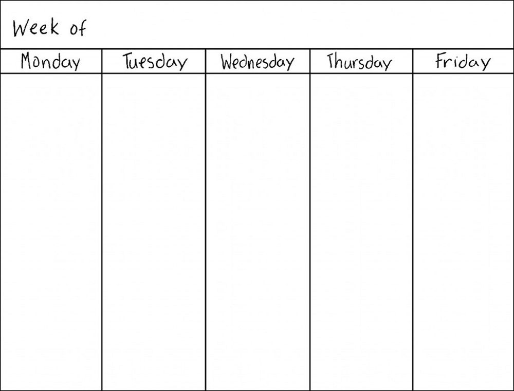 Sample Blank Calendar Calendar Template Monday Through Friday Blank