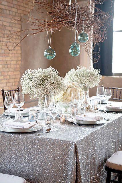 Silver Sequin Tablecloth Rectangle Tablecloth Sparkle