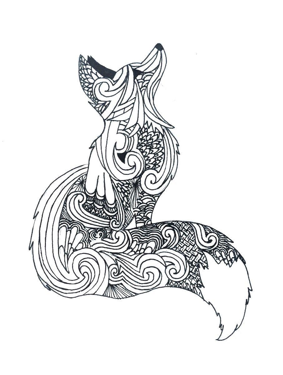 Zentangle fox | Mandala tiere, Mandala zum ausdrucken ... | mandala art coloring pages animals
