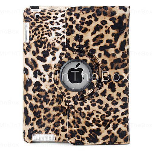 luipaard print 360 graden draaibaar pu lederen tas en staan voor de nieuwe  iPad (bruin) 64bd57764f