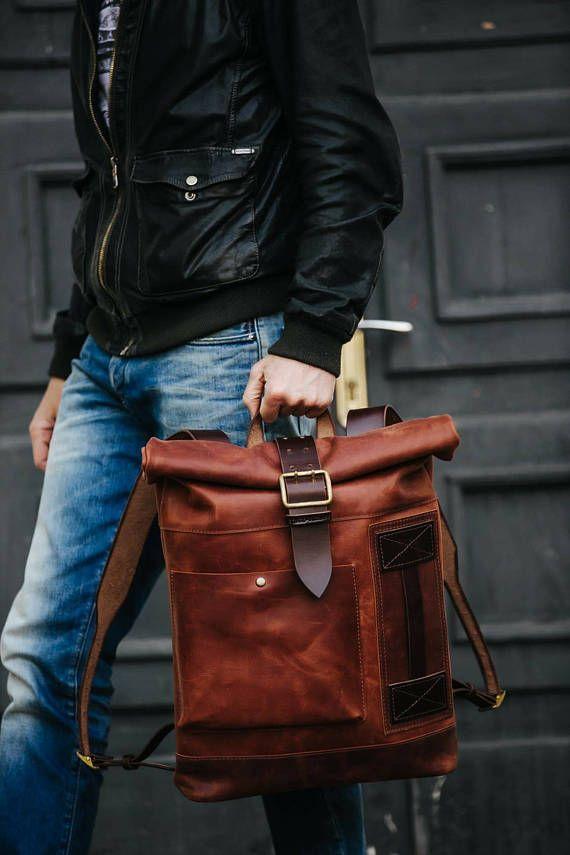adb6ec031552 Leather backpack by Kruk Garage Roll top backpack Laptop backpack Mens  backpack Personalized gift Ch
