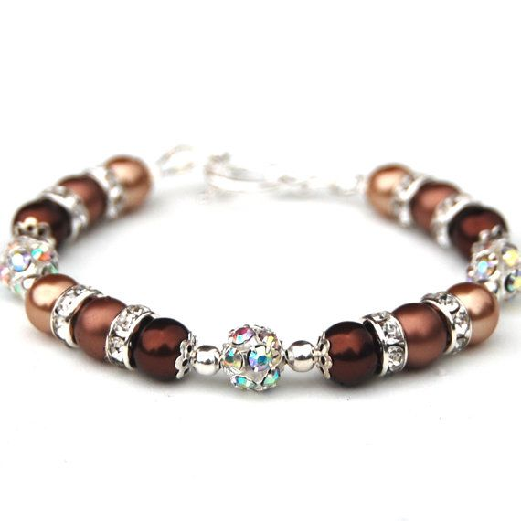 Items similar to Brown Pearl Rhinestone Bracelet, Bridesmaid Jewelry, Bridesmaid Gifts, Brown Wedding, Brown Bridesmaids, Fall Wedding, Autumn Accessory on Etsy
