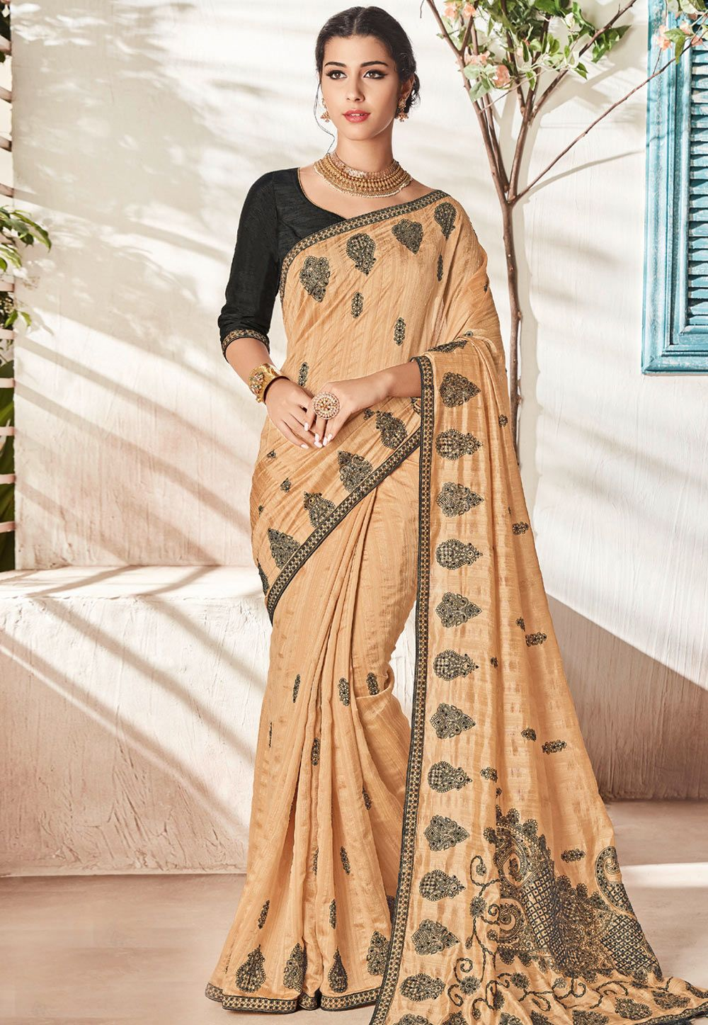 baecc4fb43 Buy Beige Silk Saree With Blouse 163474 with blouse online at lowest price  from vast collection of sarees at Indianclothstore.com.
