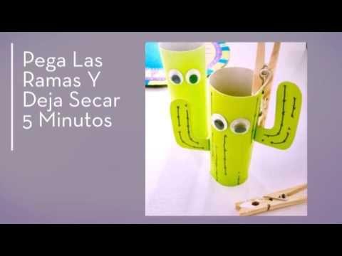Green Art Paso A Paso Cactus Reutilizando Rollo De Papel Higiénico Rollos De Papel Higiénico Cactus De Papel Sobres De Papel
