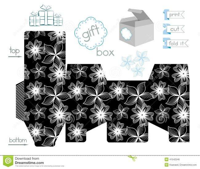 Caja cubo blanco y negro.