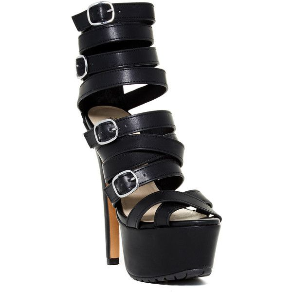 Ziginy Seaweed High Heel Platform Sandal ($29) ❤ liked on Polyvore featuring shoes, sandals, open toe sandals, open toe shoes, lug sole platform sandals, platform sandals and ziginy shoes
