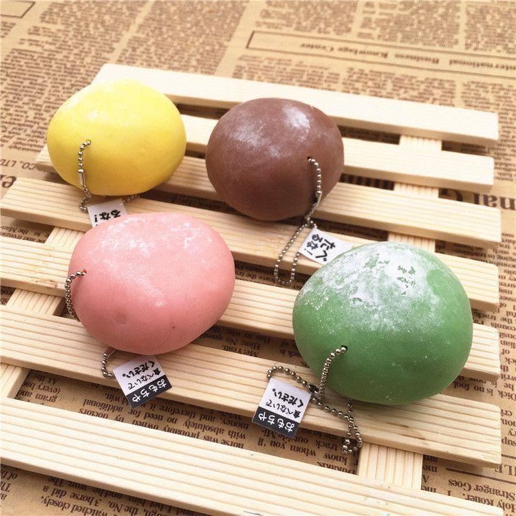 1Pc Cake Design Wagashi Daifuku Mochi Stress Squishy Scented Toy Ball Chain