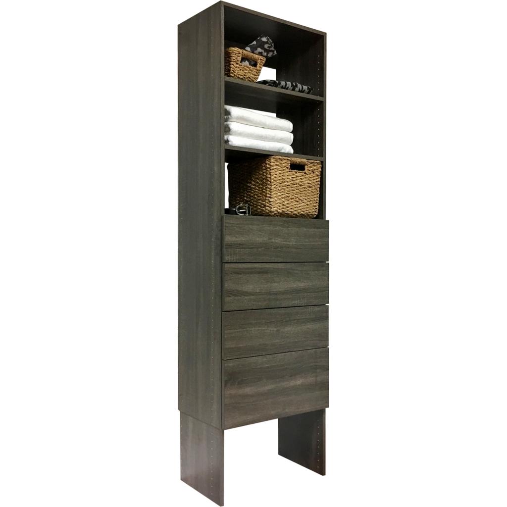 Vista 4 Drawer Shelf Tower Closet Organizing Systems Drawers Drawer Shelves