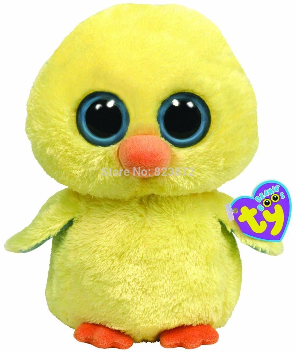 Cute cartoon animals with big eyes - Ty Beanie Boos Goldie The Chick Plush Animals Ty Big Eyes Stuffed Animal Cute Soft Toys For Children Kids Gifts