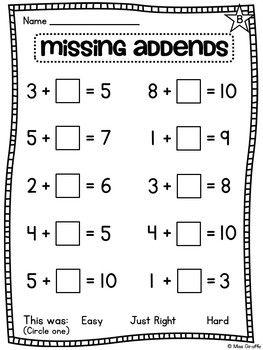 First Grade Math Unit 7 1st Grade Math First Grade Math 2nd Grade Math Math worksheets missing addends first