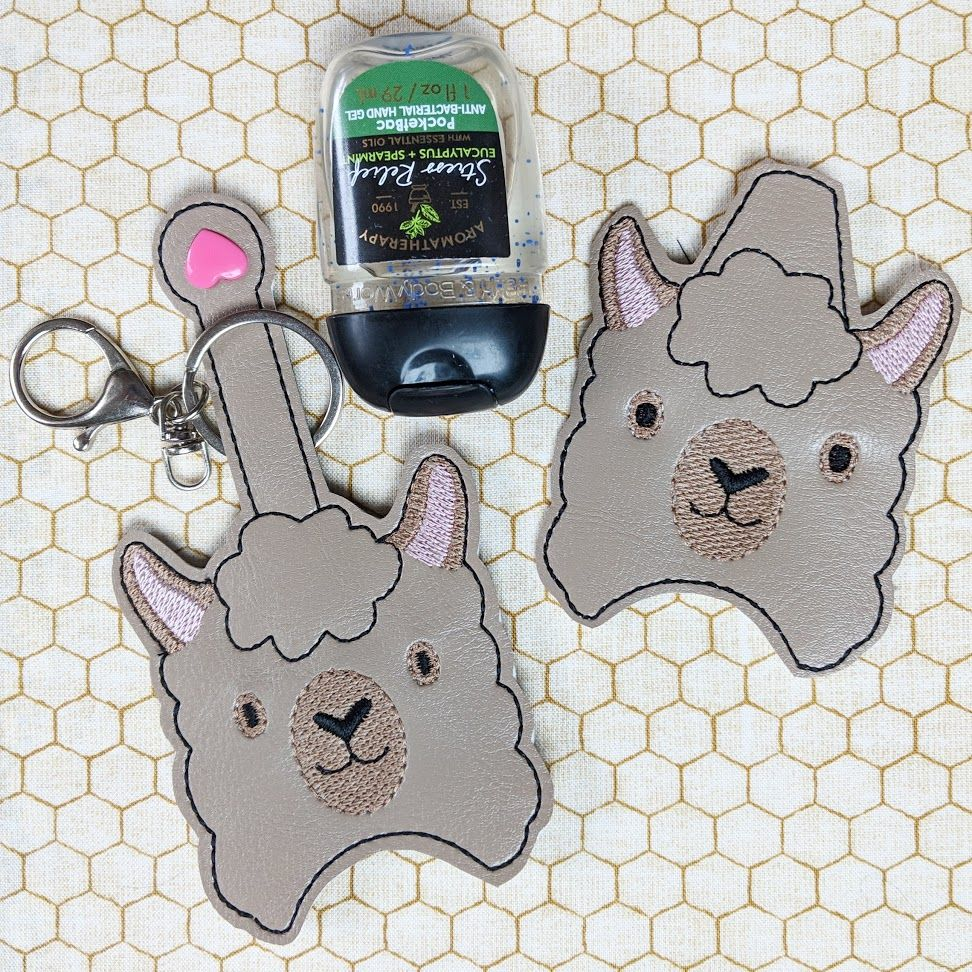 Llama Hand Sanitizer Holder Key Fob Snap Tab February 2019
