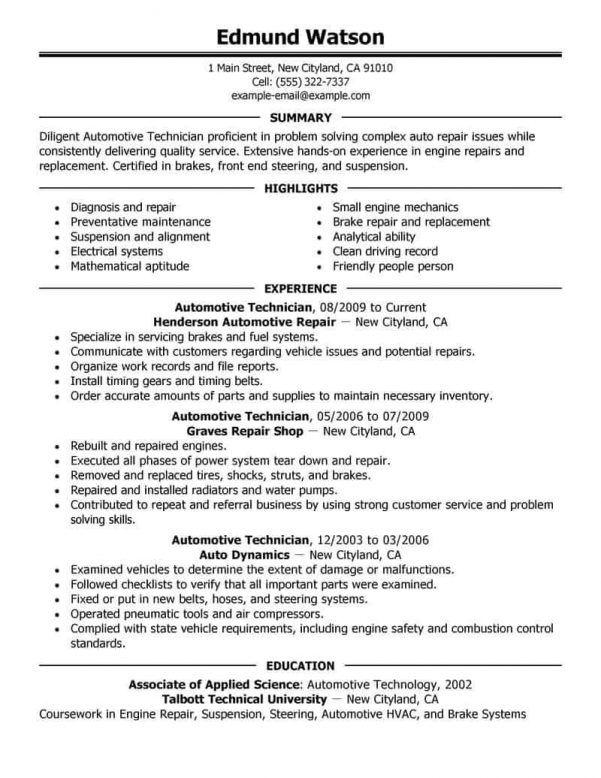 Automotive Mechanic Resume Sle 28 Images Auto Mechanic Job Resume Examples Resume Examples Automotive Technician