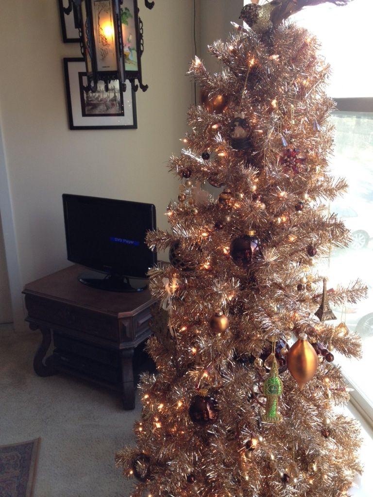 Champagne Tinsel Tree Love Christmas Tree Holiday Decor Tinsel Tree