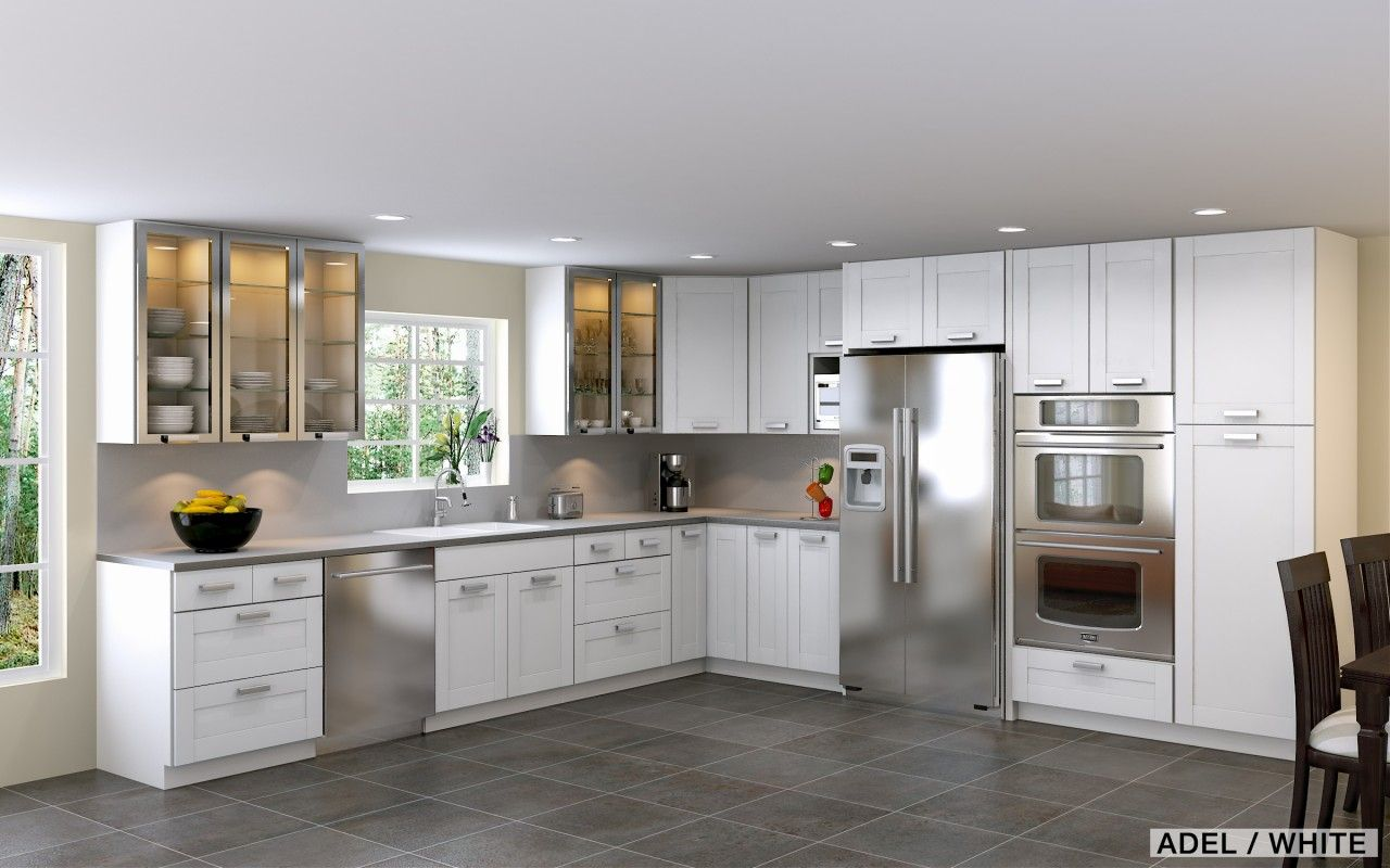Appliances Awesome White Ikea Kitchen With White Cabinet Gray Countertop And Cool Ceiling Lamp