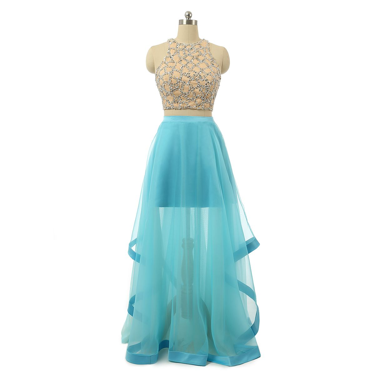 Two piece sleeveless aline tulle prom dress with sequin beads