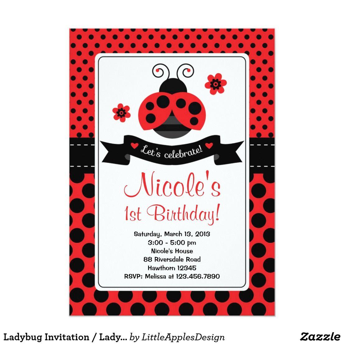 Ladybug Invitation / Lady Bug Invitation   { Happy Birthday ...