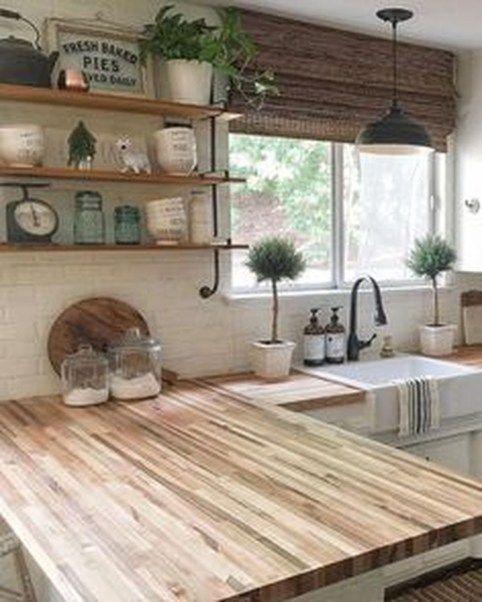 Popular farmhouse kitchen design ideas also open shelves decor house decorations rh pinterest