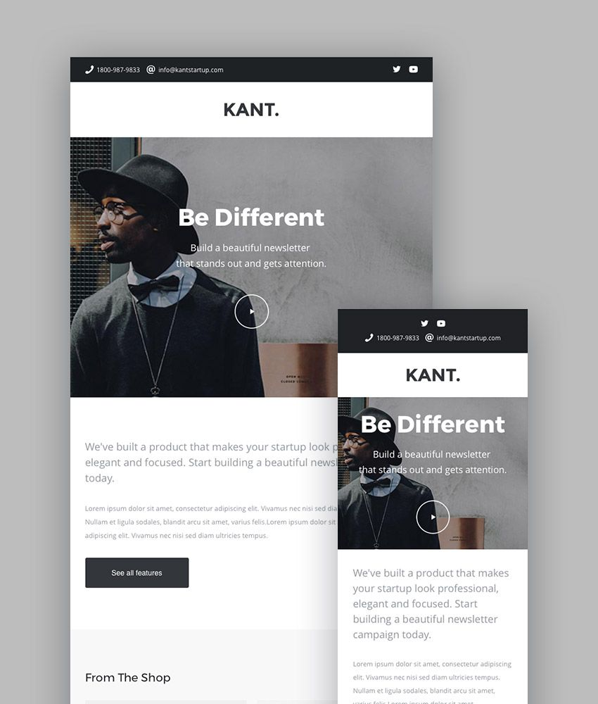 Kant - Responsive Email for Startups | Teamplates | Pinterest ...