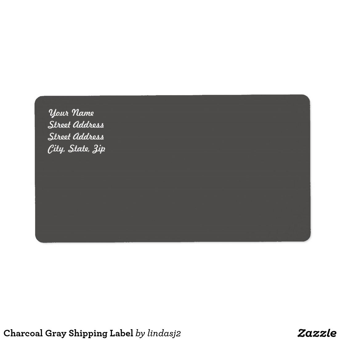 Charcoal Gray Shipping Label  Zazzle Labels