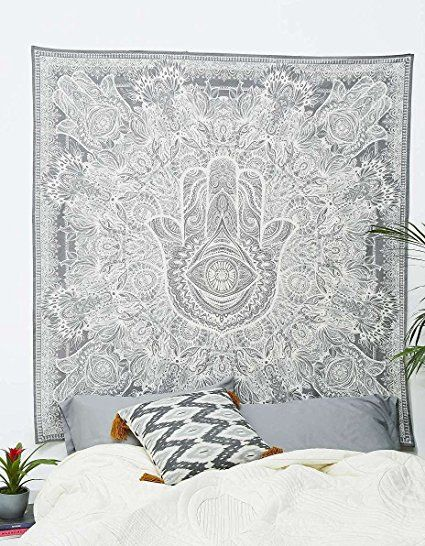 Exclusive Hamsa Hand Branded Tapestry For Goodluck By Raajsee Gray Indian Mandala Wall Art Black And White Tapestry Decor Mandala Wall Decor Hippie Tapestry