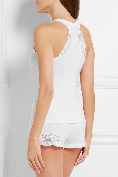 Cheap Real Authentic Cheap Low Cost Souple Lace-trimmed Stretch-cotton Jersey Pajama Top - White La Perla Looking For Great Deals Online Online Store NJCYeG