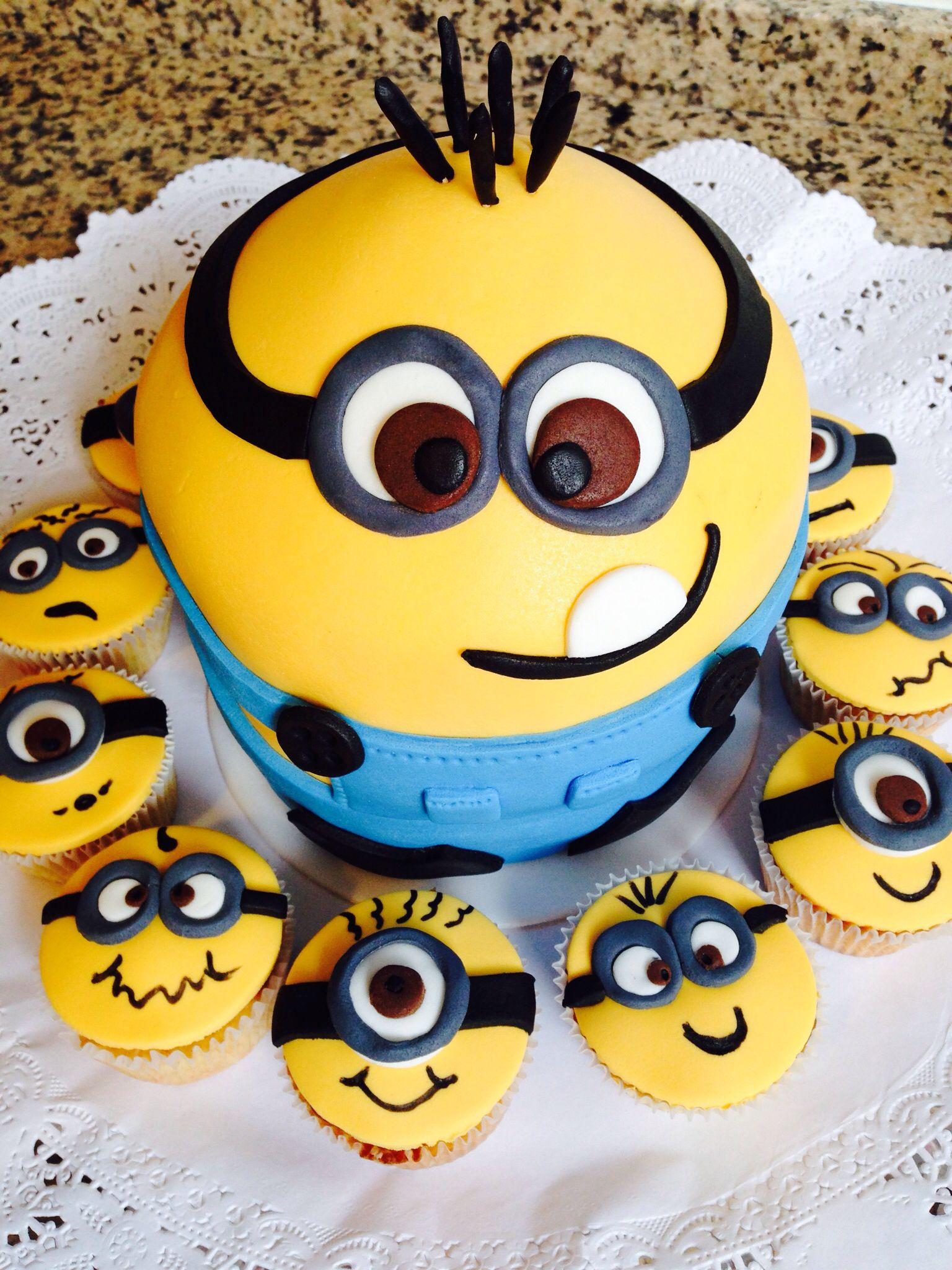 Minion Party Cake Cupckes Nicholas 1st Bday Pinterest