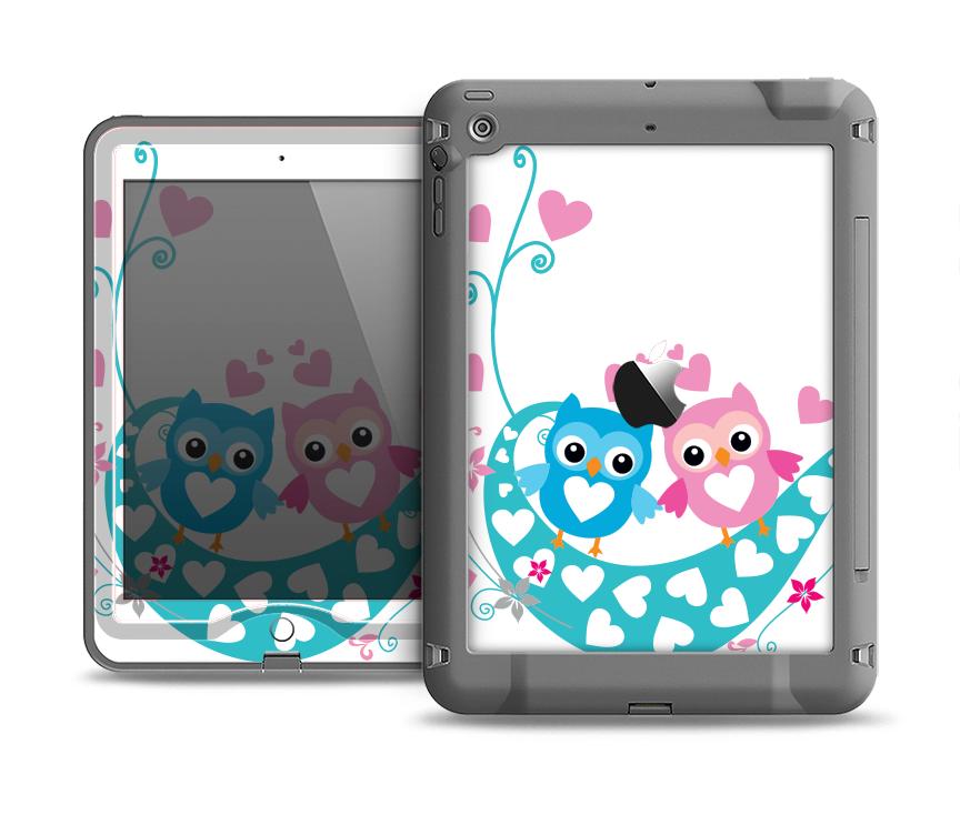 The Pink & Blue Vector Love Birds Apple iPad Air LifeProof Nuud Case Skin Set