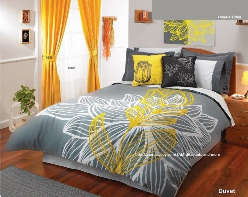 Our Room Yellow Gray White Comforter Sheets Bedding Yellow