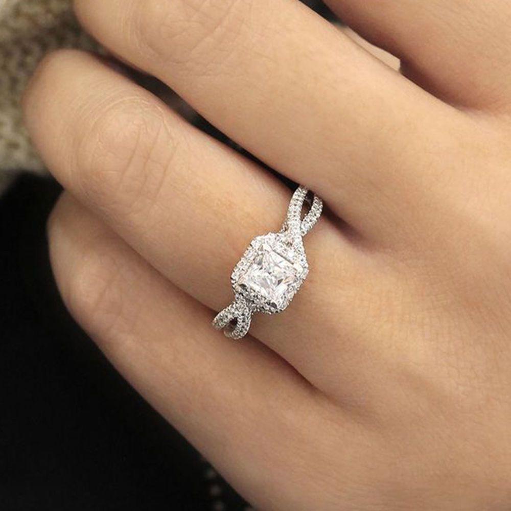58f30d28f54f2 1.5Ct Princess Cut VVS1 Halo Diamond Engagement Wedding Ring 14K ...
