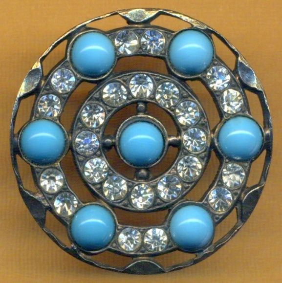Gorgeous Antique Turquoise Glass &  Paste Jewel Button