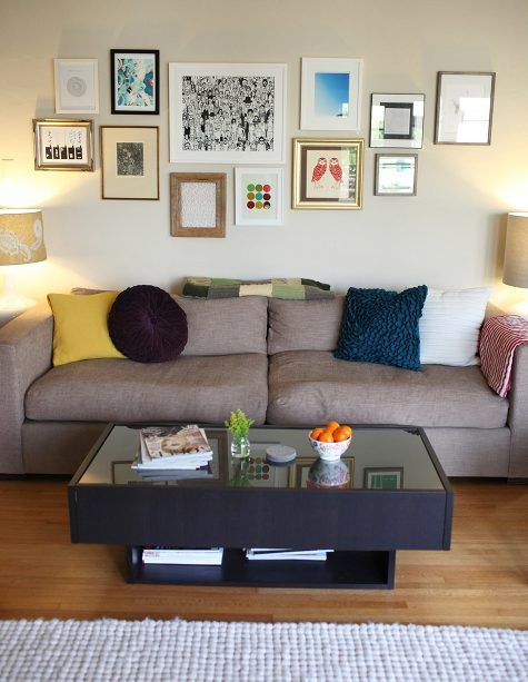 Eclectic Frames Above Couch