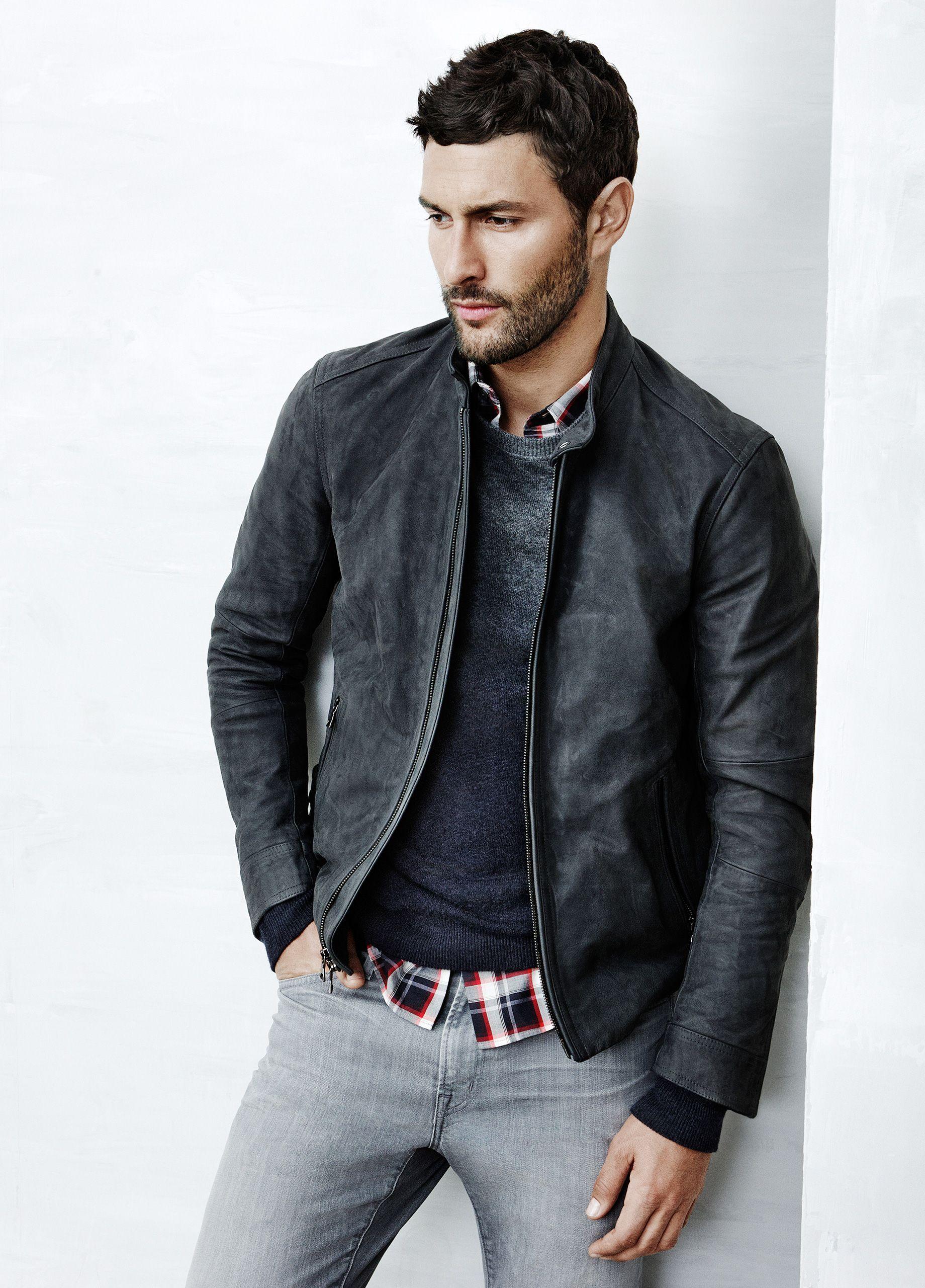 Wool cashmere flannel jacket  Vince Look  Waxed Nubuck Moto Jacket Wool Cashmere Raglan Crew Neck