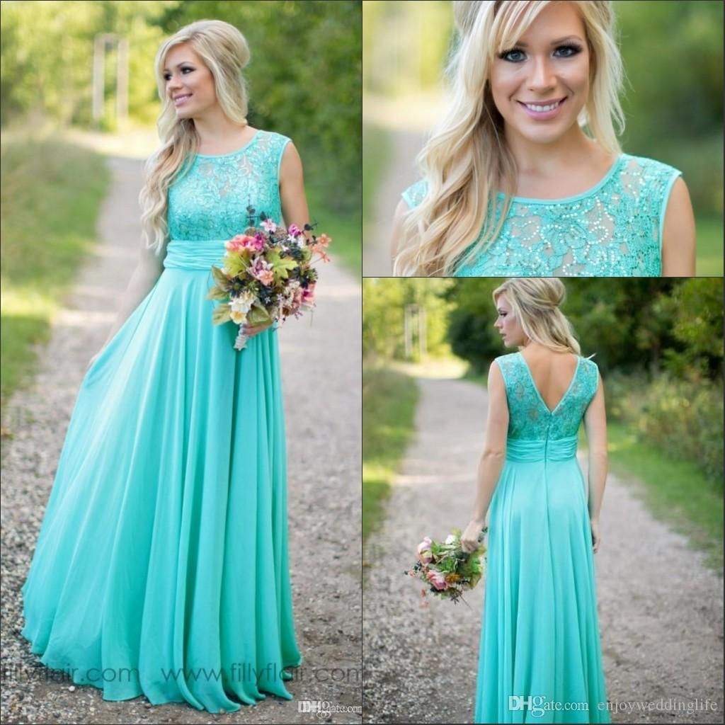 2017 New Teal Courty Bridesmaid Dresses Scoop Chiffon Beaded Lace V ...