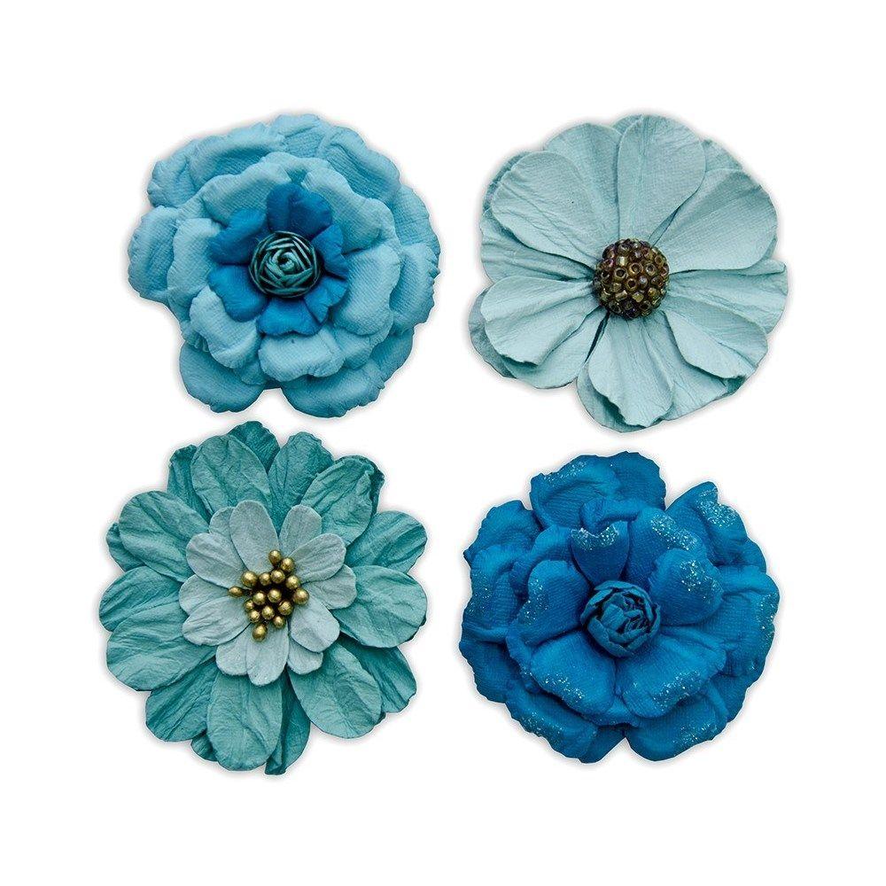 Flores Artesanais Vintage I Azul Flores63 Toke e Crie