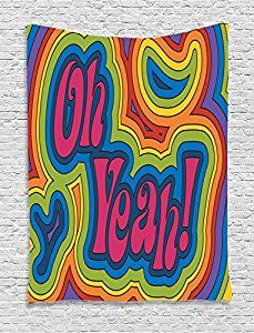 Amazon.com: Ambesonne Groovy Decorations Collection, Rainbow Psychedelic Oh Yeah Hippie Dated Vibrant Colored Art, Bedroom Living Room Dorm Wall Hanging Tapestry, Orange Yellow Red Green Blue Pink: Home & Kitchen