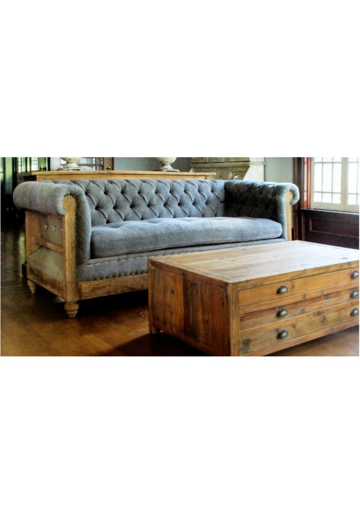 Blue French County Aged Wood Chesterfield Couch with Tufted Seat and ...