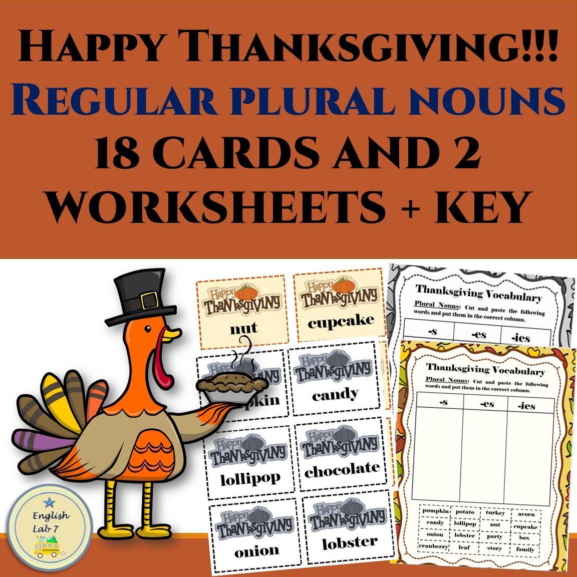 Thanksgiving Plural Nouns Adding S Es Ies