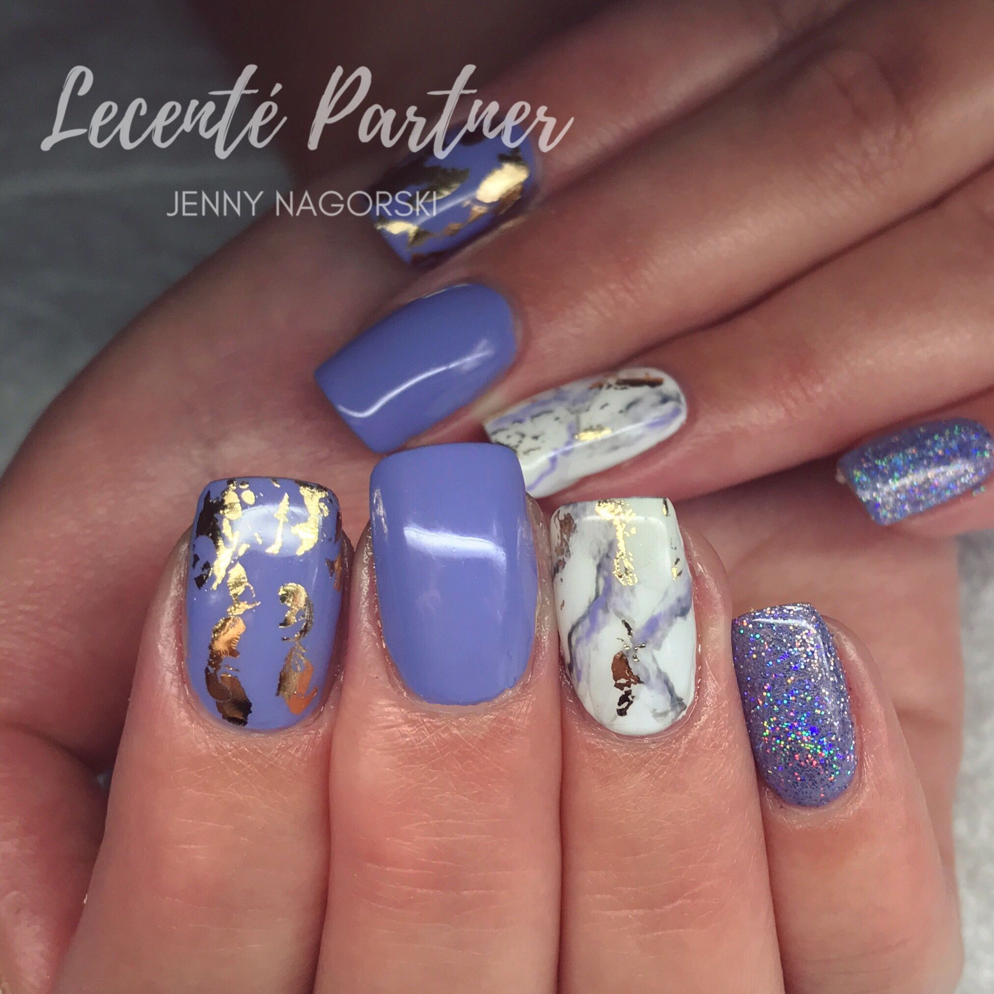 Blue glitter ombr 233 stiletto nails - Marble Nails Using Lecente Foil And Glitter With Cnd Shellac
