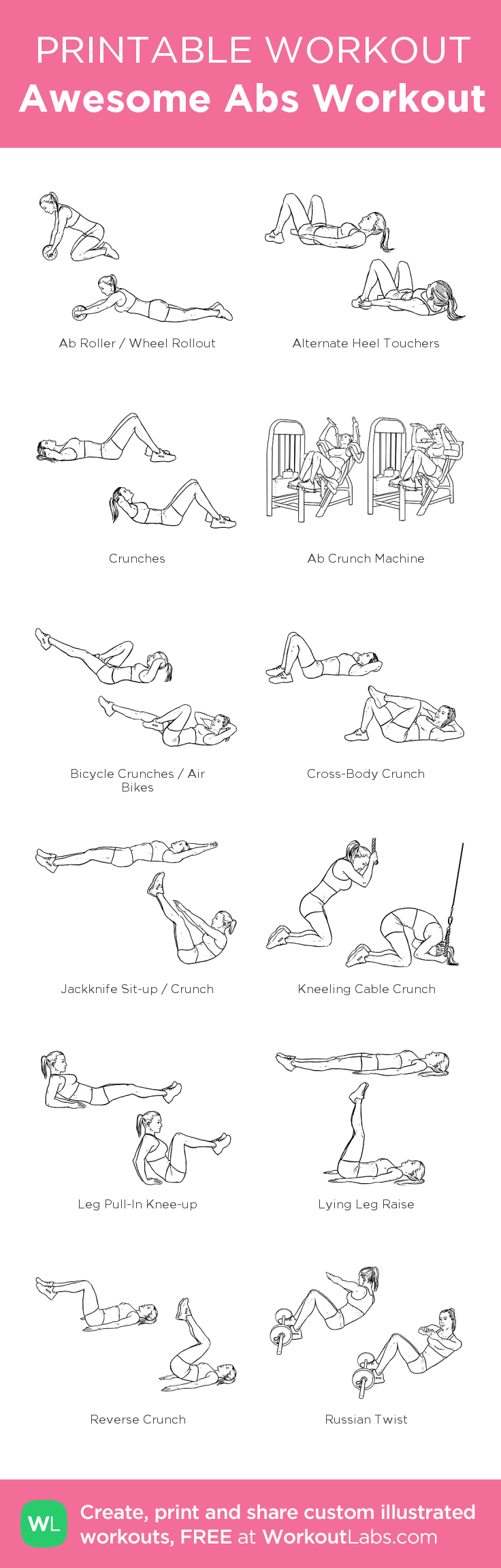 image relating to Printable Ab Workouts named Wonderful Ab muscles Work out: my personalized printable exercise session by means of