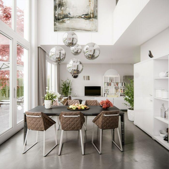 Muebles de salon modernos comedor con techo alto y - Lamparas de comedor modernas ...