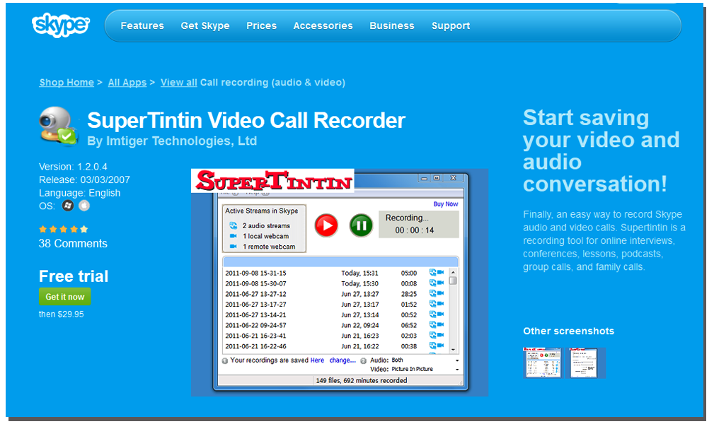 record a skype video call