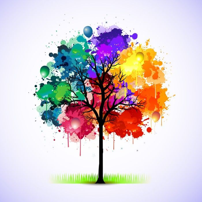 Colorful abstract tree background Pixerstick Sticker - Styles